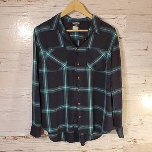 a new day flannel print button down